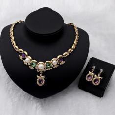 Colier pandantiv cercel Faux perle de cristal placate cu aur bijuterii pandora