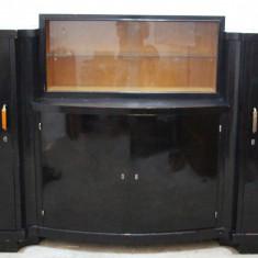 Mobilier, Comode si bufete, Art Deco, 1900 - 1949 - Servanta vintage/antica, lemn masiv, cu vitrina; Bufet; Dulap; Comoda 4 corpuri