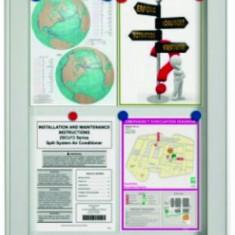 Tabla de conferinta - Avizier interior/exterior Recto, tabla alba magnetica, 15 x A4, 90 x 106 cm, SMIT