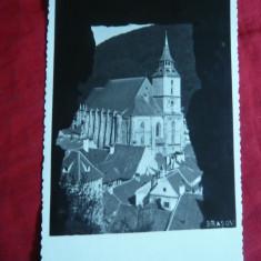 Ilustrata artistica Brasov - Biserica Neagra circulat 1942, cenzurat Arad - Carte Postala Transilvania dupa 1918, Circulata, Fotografie