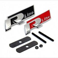 Emblema metalica 3D crom R-line grila fata Vw Passat, Golf, Polo, etc - Embleme auto