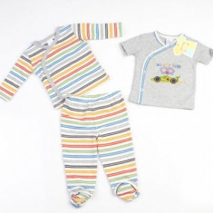 Set hainute in dungulite 3 piese pentru bebelusi Laura Ashley 3 luni, Gri
