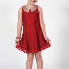 Rochie din dantela Rosie cu guler cu paiete Art Limited 9 ani, Rosu