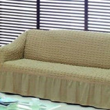 Husa creponata si elastica din bumbac pentru canapea 3 locuri culoare Bej Inchis - Cuvertura