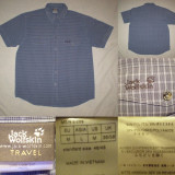 Camasa JACK WOLFSKIN Travel (L) barbati maneca scurta vara toamna albastra - Camasa barbati, Marime: M, Culoare: Din imagine