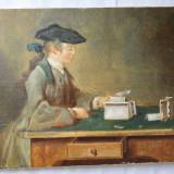 """Lipan """"Castelul din carti de joc"""" pictura ulei - Pictor roman, Scene gen, Realism"""