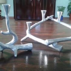 Sfesnic metal masiv in forma de coarne de cerb, doua piese - Metal/Fonta