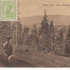 VEDERE DE LA VAMA GIUVALA-RUCAR, CIRCULATA, STAMPILA ''13 - Carte Postala Muntenia 1904-1918, Printata