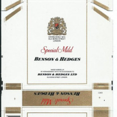 Pachet tigari - Ambalaj pachet cartonat tigari Benson&Hedges / Special Mild