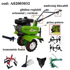 Gardelina Motocultor A02003032, 7 CP, freze, roti, plug LY reversibil, rarita fixa, plug cartofi, prasitoare, 1000 mm