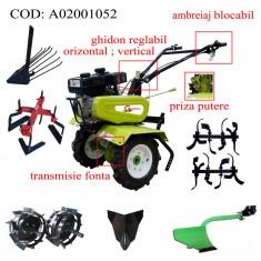 Gardelina Motocultor A02001052, 7 CP, freze, roti cauciuc, roti metalice, plug hoby, prasitoare hoby, plug cartofi, rarita fixa, 700-1000 mm