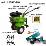 Gardelina Motocultor A02003060, 7 CP, freze , roti cauciuc, remorca 400 kg, 1000 mm