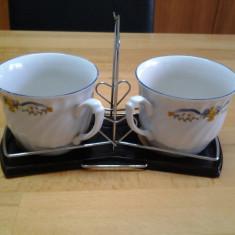 Set cesti si farfurii ceai / cafea + suport - Portelan