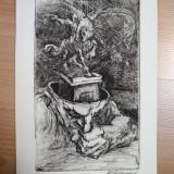 "Tablou, Abstract, Cerneala, Abstract - GRAVURA MARCEL CHIRNOAGA ""MARETE GANDURI """