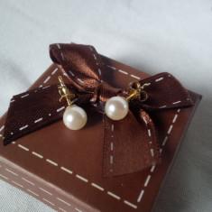 Cercei aur 8k perla - Cercei aur alb, 9K