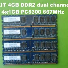 Memorie RAM Samsung PC DDR2 4GB KIT PC5300 667MHz Nanya, Dual channel