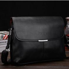POLO servieta geanta piele barbateasca de umar - Geanta Barbati, Marime: Mare, Culoare: Negru