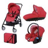 Carucior copii 3 in 1 - Carucior 3 in 1 trio streety rosu bebe confort- Stare impecabila