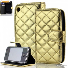Husa Iphone 3G / 3GS Flip Portofel Gold