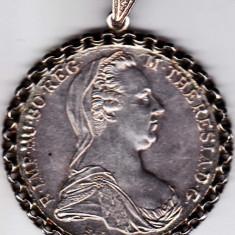 Medalion pandantiv argint masiv 32, 2 gr din TALER 1780 portret Maria Tereza