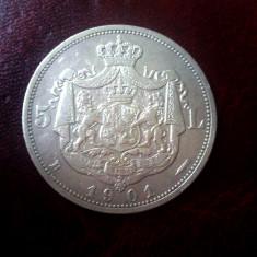 Monede Romania - 5 LEI 1901, STARE DEOSEBIT DE FRUMOASA !! PRET EXCELENT !!