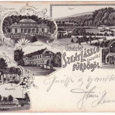 Romania, Szent Laszlo (puspok) furdo, 1 Mai carte postala multipla circulata 1900 - Carte Postala Crisana pana la 1904, Fotografie, Oradea