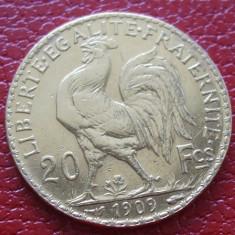 M. 20 francs / franci 1909 Franta, aur, Europa