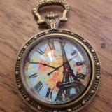 Pandantiv bronz,  2 fete, ceas vintage