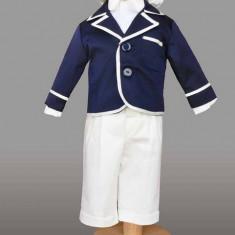 Trusou botez - Haine copii botez- costum baieti Samuel (Culoare: bleumarin/ alb, Imbracaminte pentru varsta: 3 - 6 luni - 68 cm)