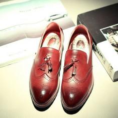 Pantofi Oxford Mocasini piele naturala - Pantofi barbati, Marime: 44, Culoare: Visiniu