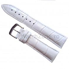 Curea ceas piele - Curea de ceas Piele Alba imprimeu Crocodil Curea ceas 22mm