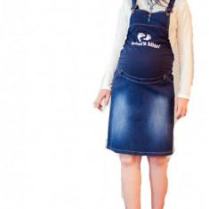 Haine Gravide - Fusta salopeta din jeans pentru gravide FSJ L (44) MaJore