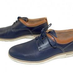 Pantofi barbati casual piele naturala Denis-2823 bl, Marime: 40, 41, 42, 43, 44, 45, Culoare: Albastru