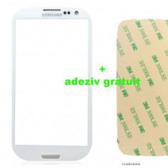 Ecran Geam Sticla Samsung Galaxy S3 Alb negru black white + adeziv gratuit - Geam carcasa