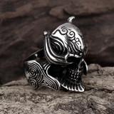 Inel inox viking skull ring craniu vintage punk rock gothic biker