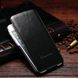 Husa protectie piele fina iPHONE 6 / 6s lux, tip flip cover, NEGRU, Cu clapeta