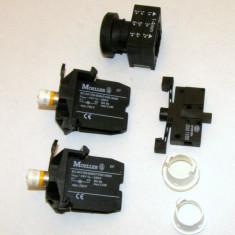 Push buton si 2 leduri orange cu soclu Moeller(292) - Bec / LED