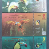 ATLANTIC FOREST 2016 - SET 3 BANCNOTE 1, 2 SI 3 AVES DOLLARS (UNC) - BC 41