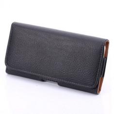 Husa flip neagra piele eco atasabila la curea pt Sony Z4 negru black ALL - Dock telefon Sony Ericsson