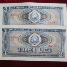 3 lei 1966, serii consecutive: 2 bucati-aunc, An: 1966