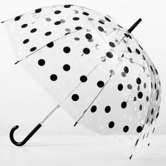 Umbrela Dama - Umbrela transparenta clopot cu buline negre