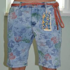 Blugi scurti Tony Backer model floral pantaloni scurti LIVRARE GRATUITA - Bermude barbati Lee Cooper, Marime: 32, 38, Culoare: Albastru, Bumbac