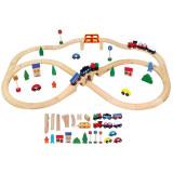 Set de Tren cu 49 de Piese - VIGA - Trenulet de jucarie, Lemn, Unisex