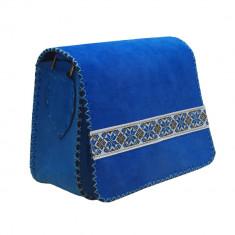 Geanta piele naturala intoarsa cu motive populare - Geanta Dama, Culoare: Albastru, Marime: Medie, Geanta de umar