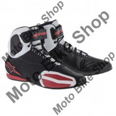MBS Ghete moto Alpinestars Faster, negru-alb-rosu, 7=39, Cod Produs: 25102141237AU - Cizme barbati
