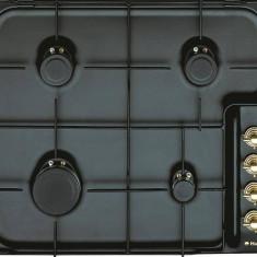 Plita Hansa incorporabila rustica HANSA BHG63100020, gaz, 4 arzatoare, 60 cm, negru - Plita incorporabila