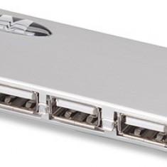 Manhattan Hub USB subtire, 4 porturi, USB 2.0 + adaptor de curent - Adaptor interfata PC