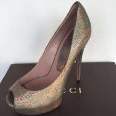Pantofi GUCCI, Made in Italy, aurii - Pantof dama Gucci, Marime: 36.5, Culoare: Auriu