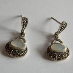 Cercei de argint cu marcasite si sidef - Cercei argint