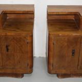 Set Vintage 2 Noptiere mari, Stil Art Deco Romanesc; Dulap; Comoda - Mobilier, Comode si bufete, 1900 - 1949